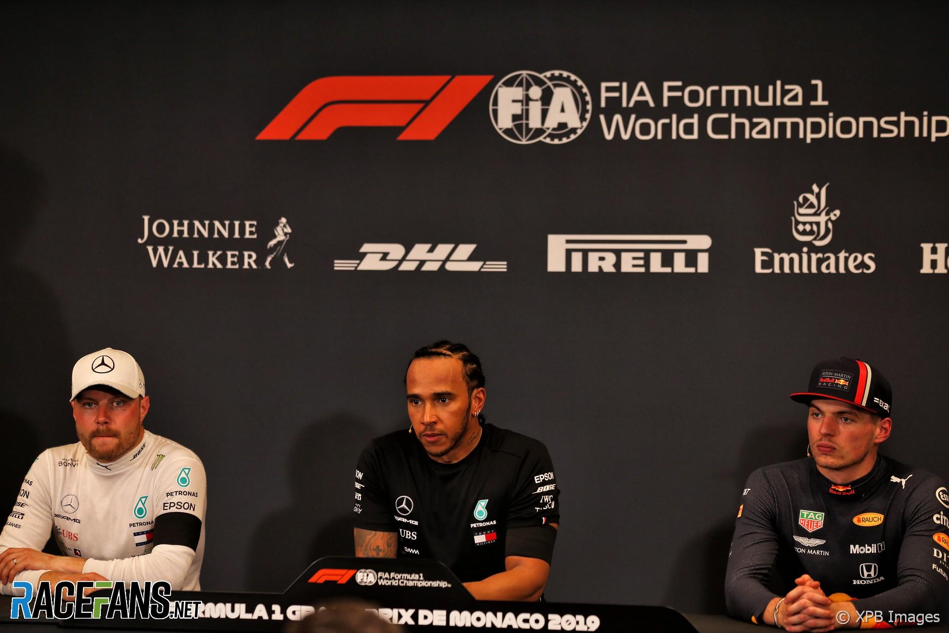 Valtteri Bottas, Lewis Hamilton, Max Verstappen, Monaco, 2019