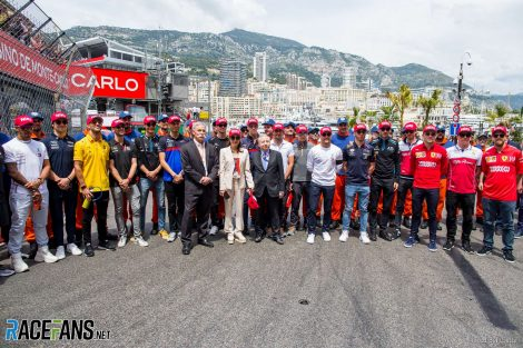 Drivers tribute to Niki Lauda with Chase Carey, Michelle Yeoh and Jean Todt, Monaco, 2019
