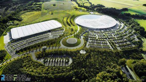McLaren Technology Centre exterior, aerial view