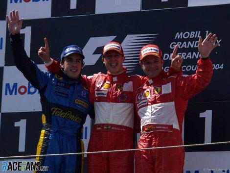 Fernando Alonso, Michael Schumacher, Rubens Barrichello, Magny-Cours, 2004