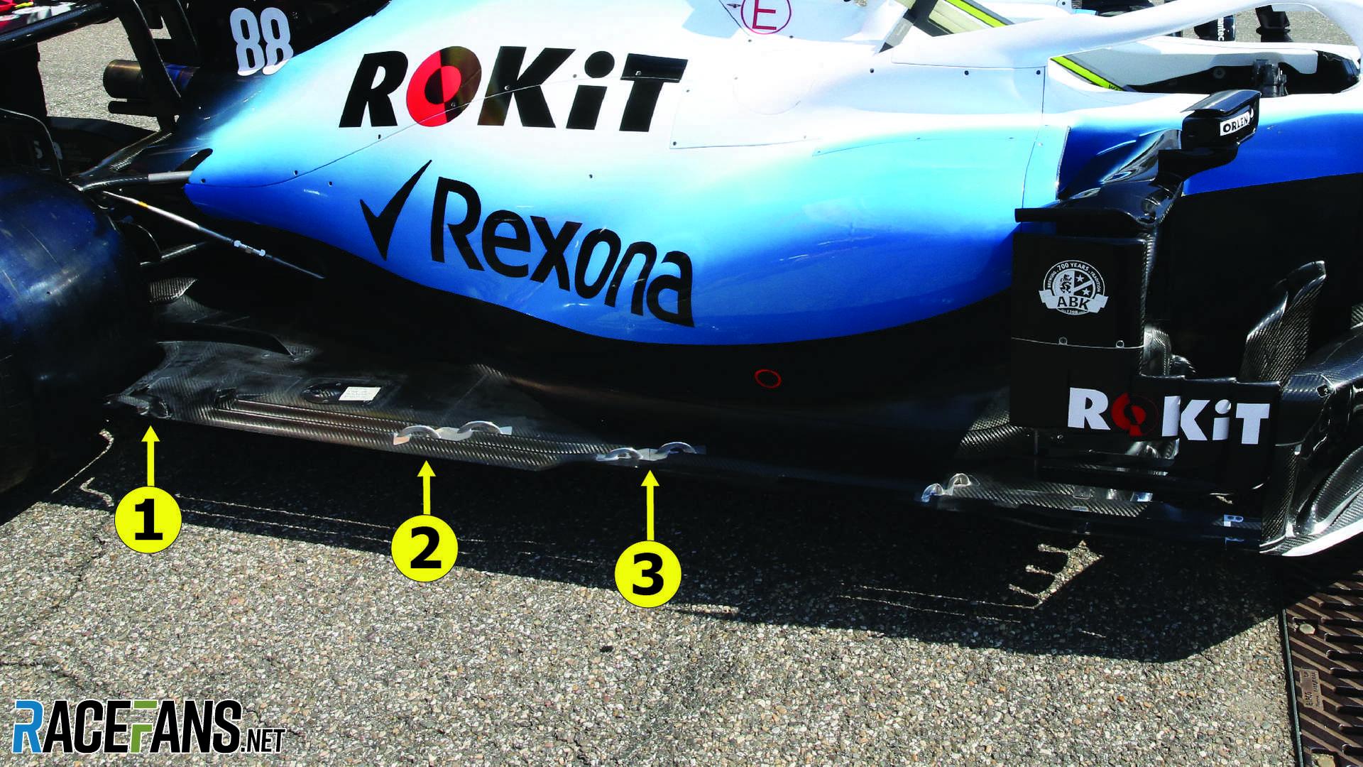 Williams floor update, Hockenheimring, 2019