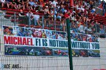 Michael Schumacher banner, Spa-Francorchamps, 2019