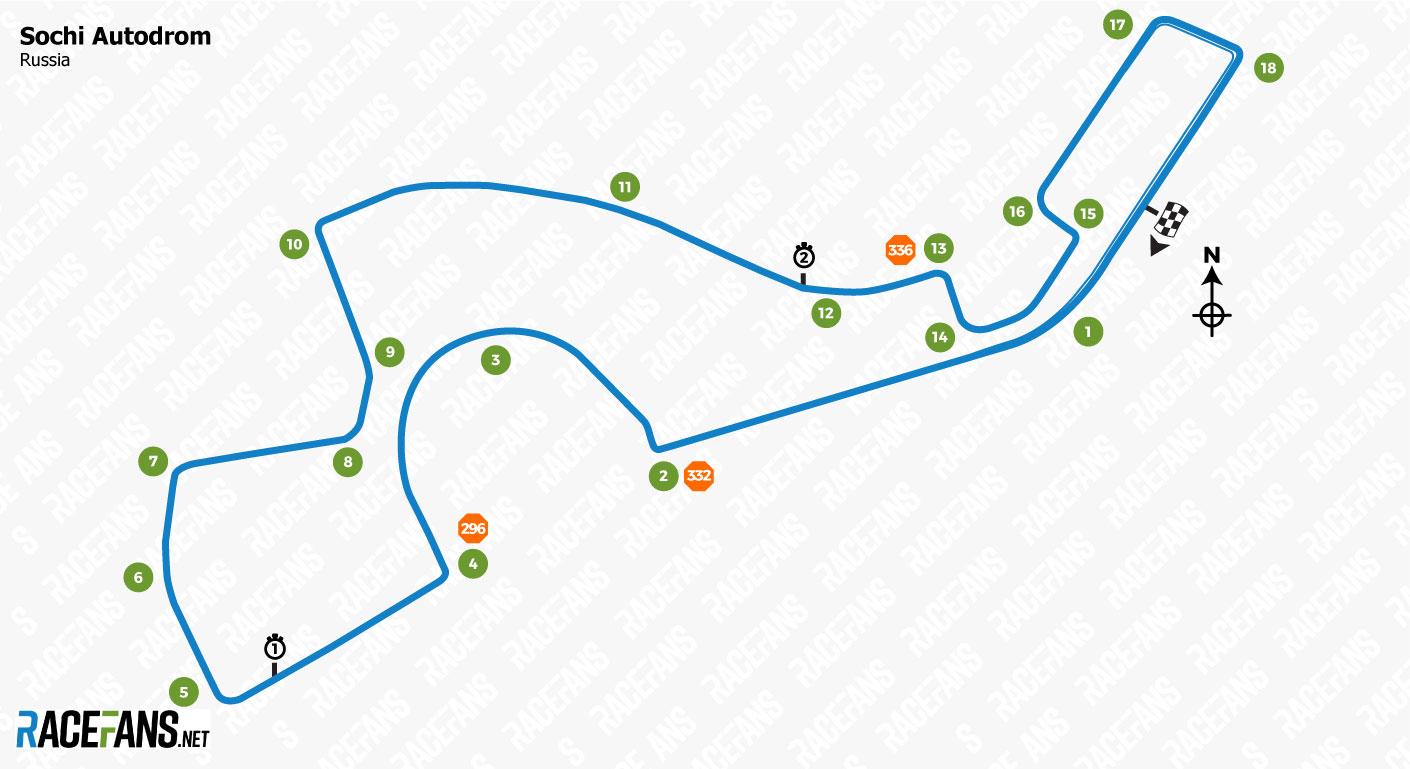 Sochi Autodrom track map, 2019