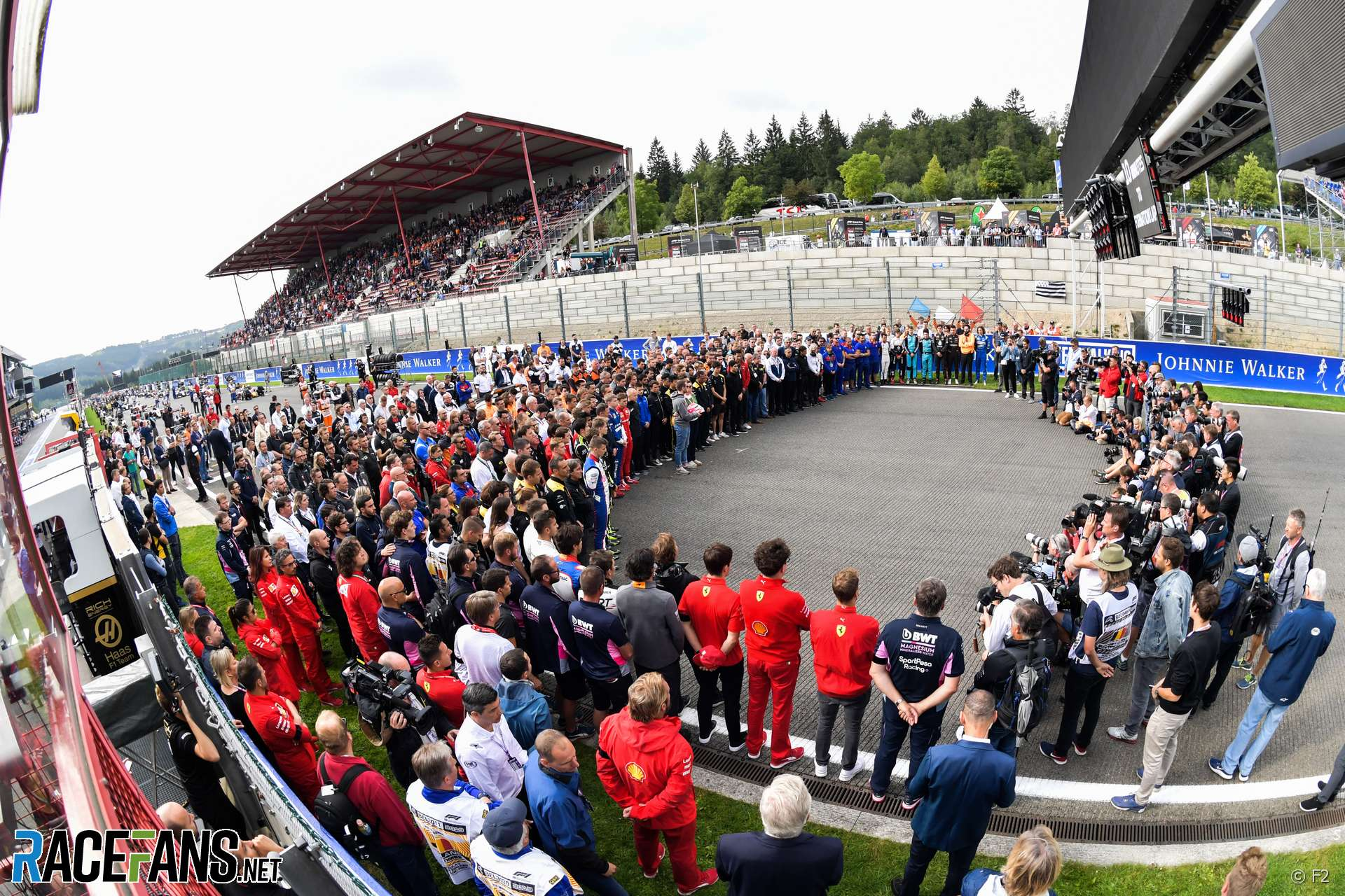 A moment of silence on the grid for Anthoine Hubert, Spa, 2019