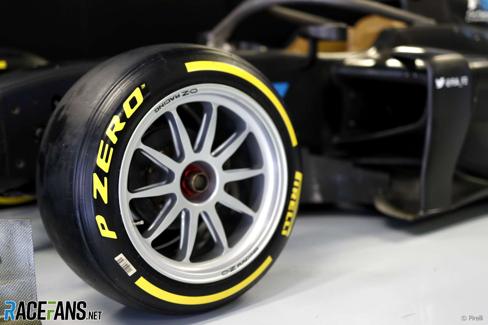 Pirelli 18-inch tyres on a Formula 2 car, Monza, 2019