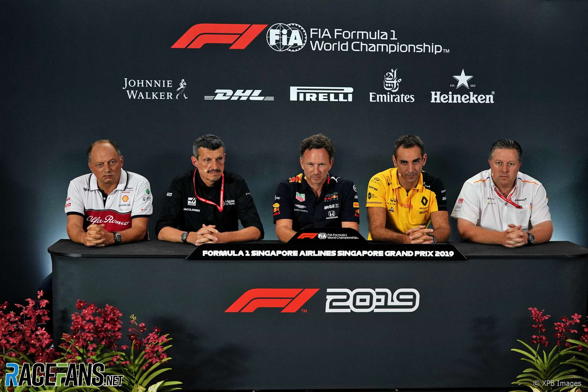 Frederic Vasseur, Guenther Steiner, Christian Horner, Cyril Abiteboul, Zak Brown, Singapore, 2019