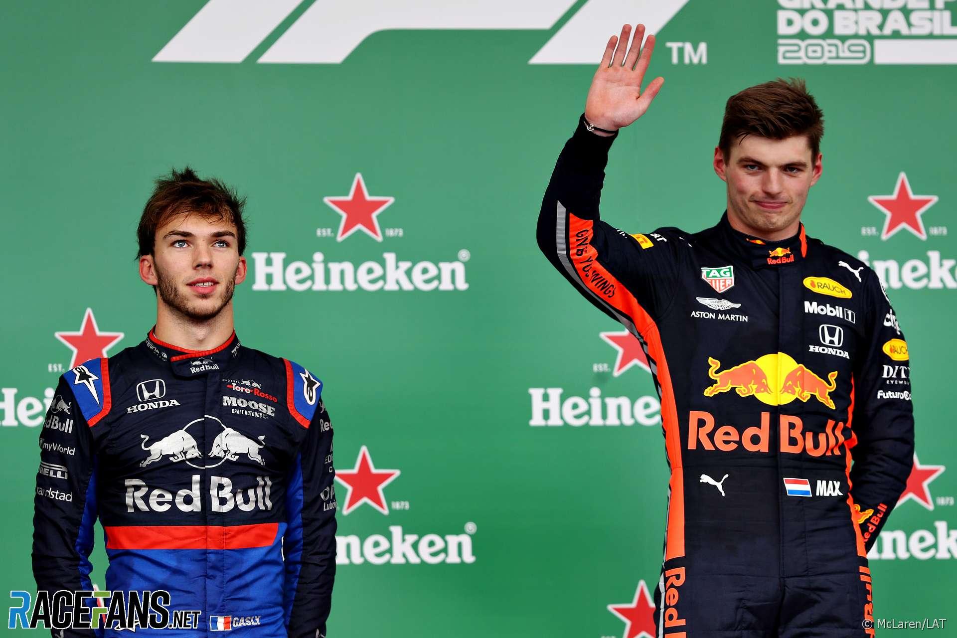 Pierre Gasly, Max Verstappen, Interlagos, 2019