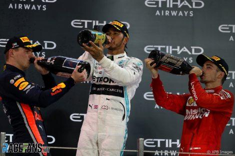 Max Verstappen, Lewis Hamilton, Charles Leclerc, Yas Marina, 2019