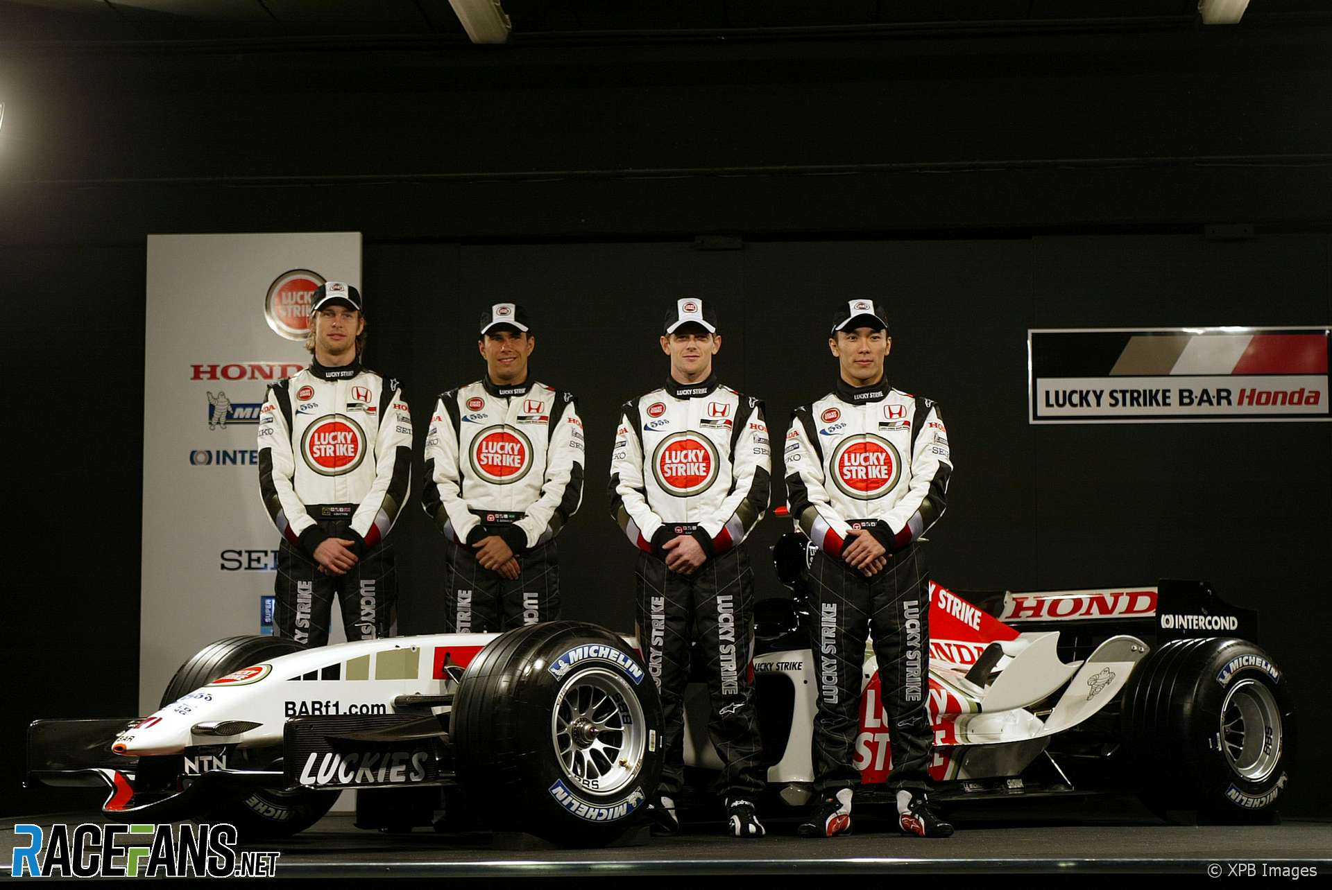 Jenson Button, Enrique Bernoldi, Anthony Davidson, Takuma Sato, BAR Honda 007 Launch, Circuit de Catalunya, 2005