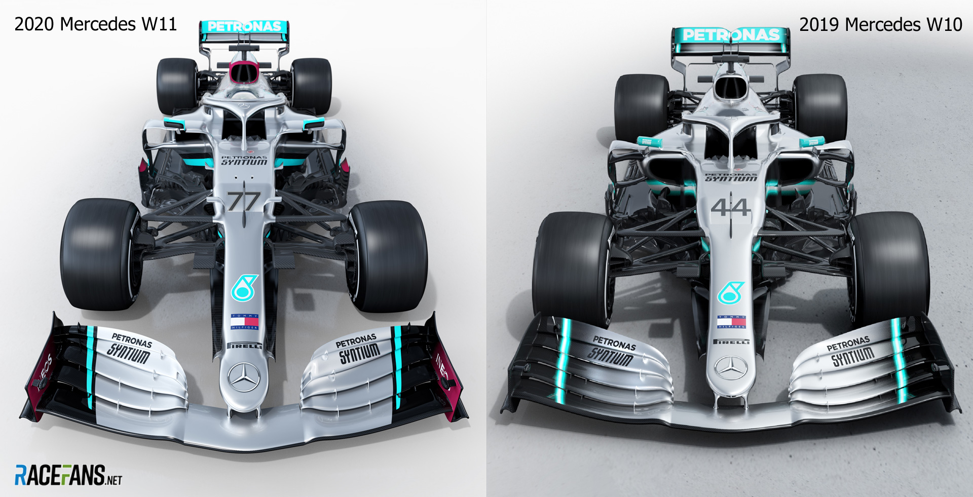 Mercedes 2020 and 2019 cars - front