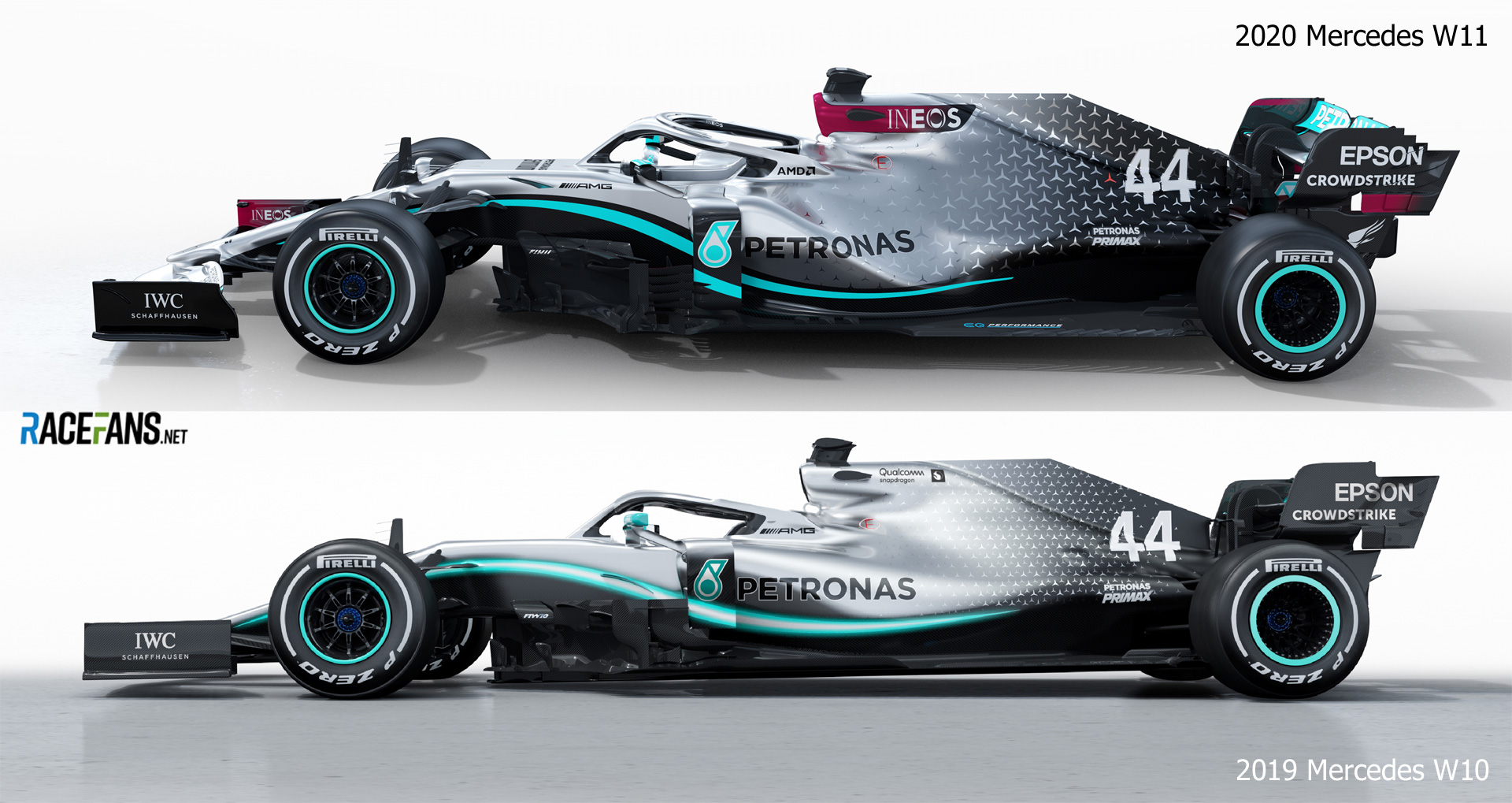 Mercedes 2020 and 2019 cars - side