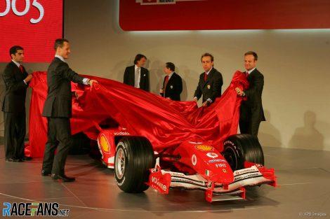 Michael Schumacher, Rubens Barrichello, Ferrari F2005 launch, Maranello, 2005