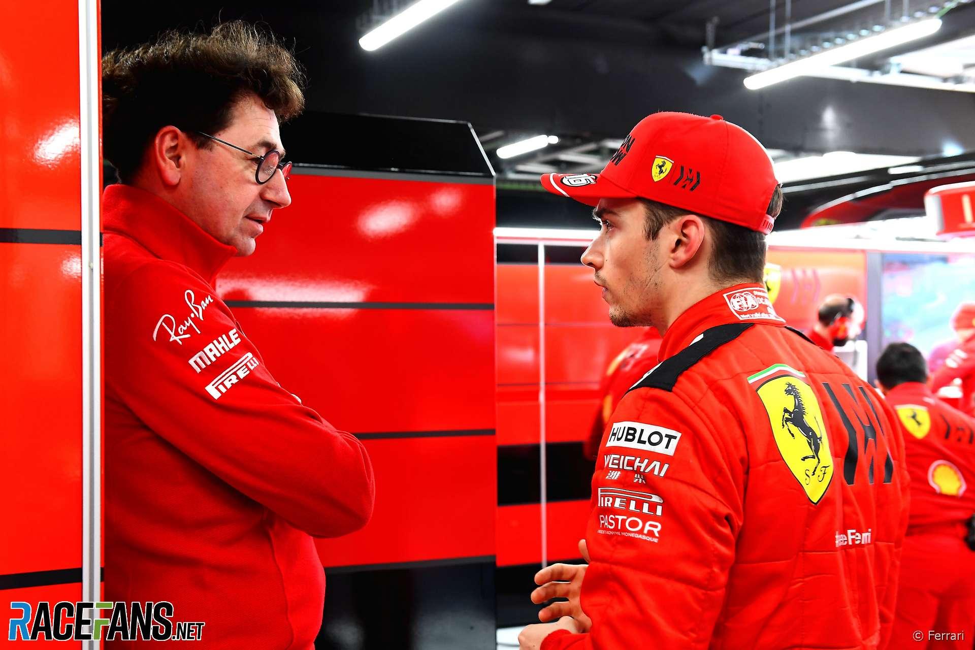 Mattia Binotto, Charles Leclerc, Ferrari, Circuit de Catalunya, 2020