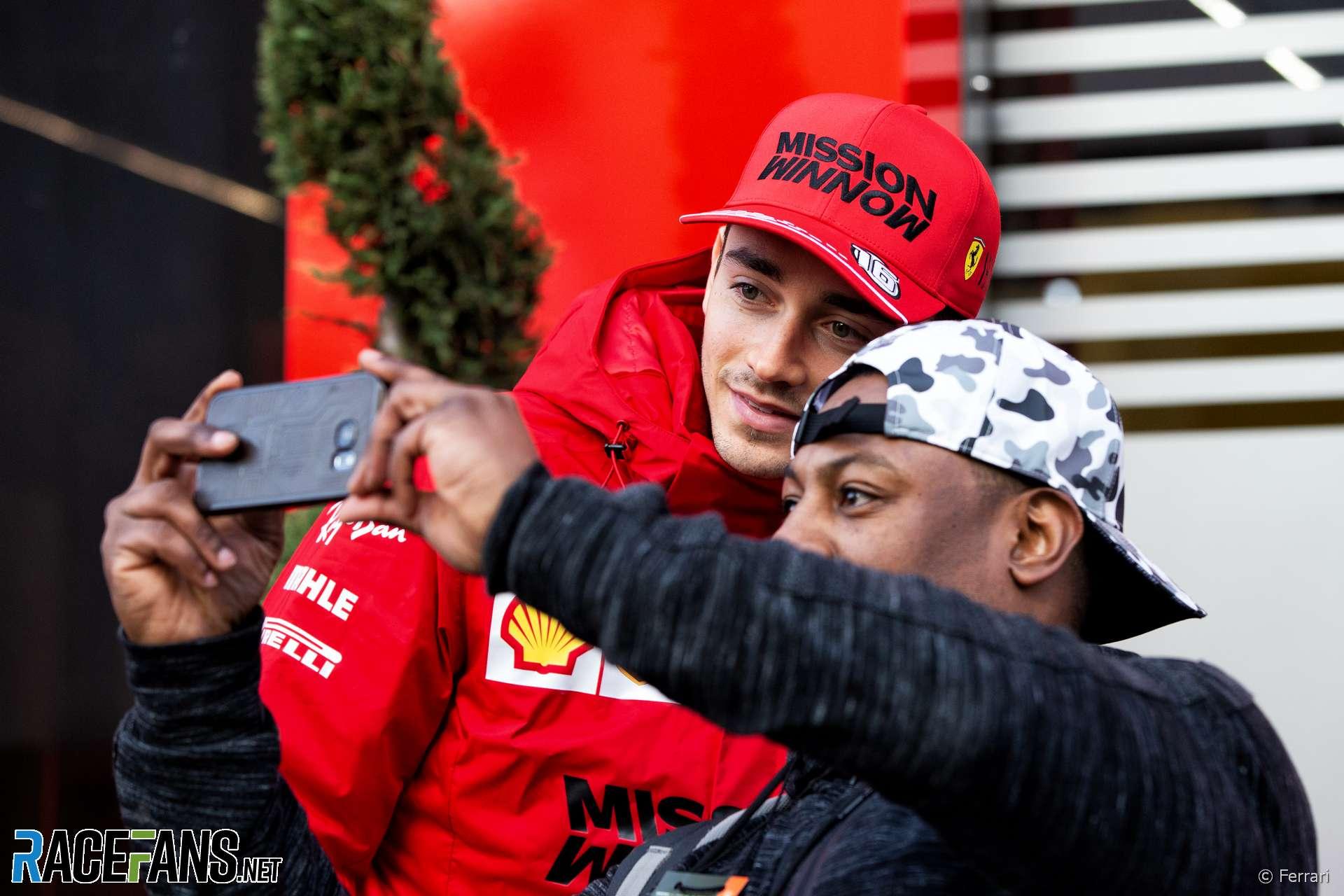 Charles Leclerc with a fan, Circuit de Catalunya, 2020 · RaceFans