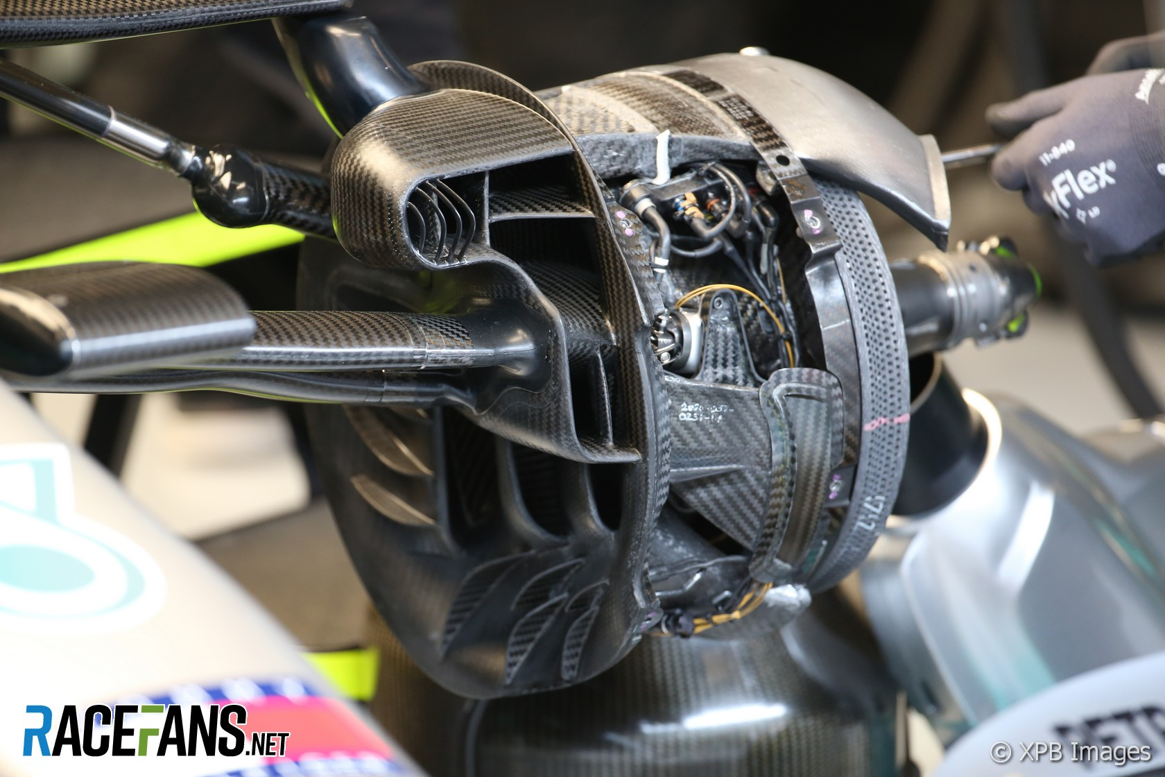 Mercedes W11 brake duct, Circuit de Catalunya, 2020