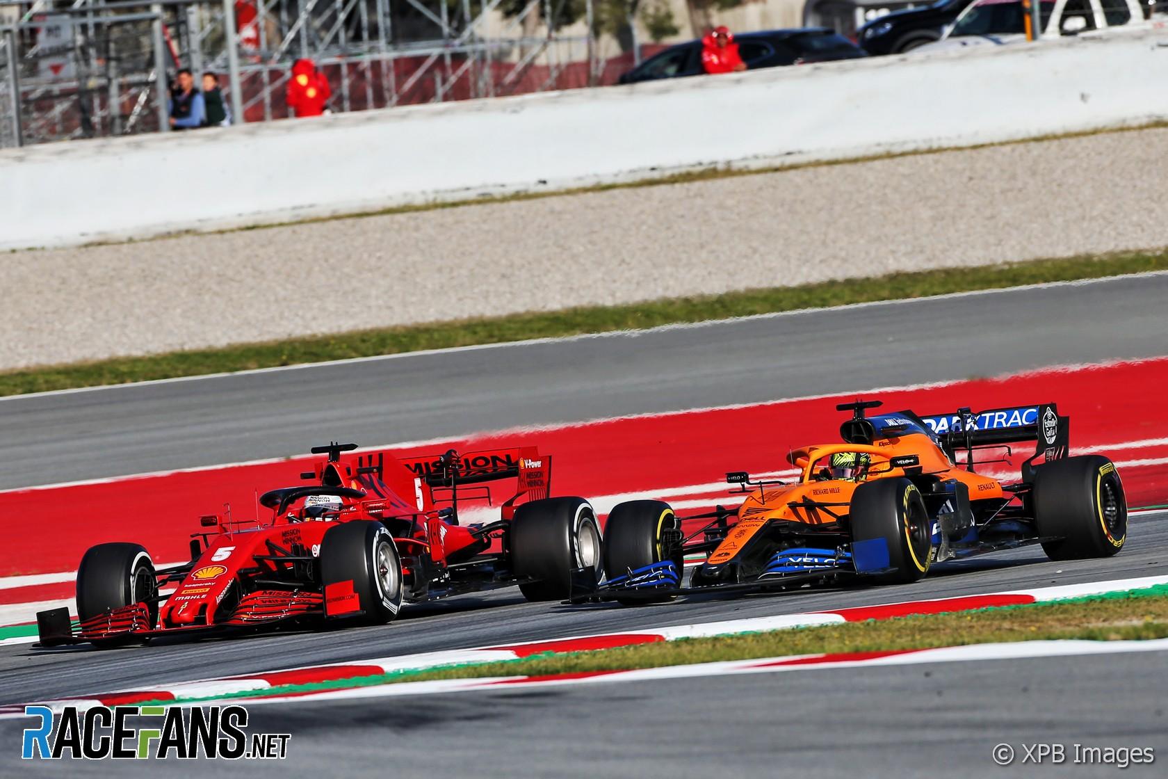 Lando Norris, Sebastian Vettel, Circuit de Catalunya, 2020