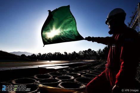 Marshal with green flag, Circuit de Catalunya, 2020