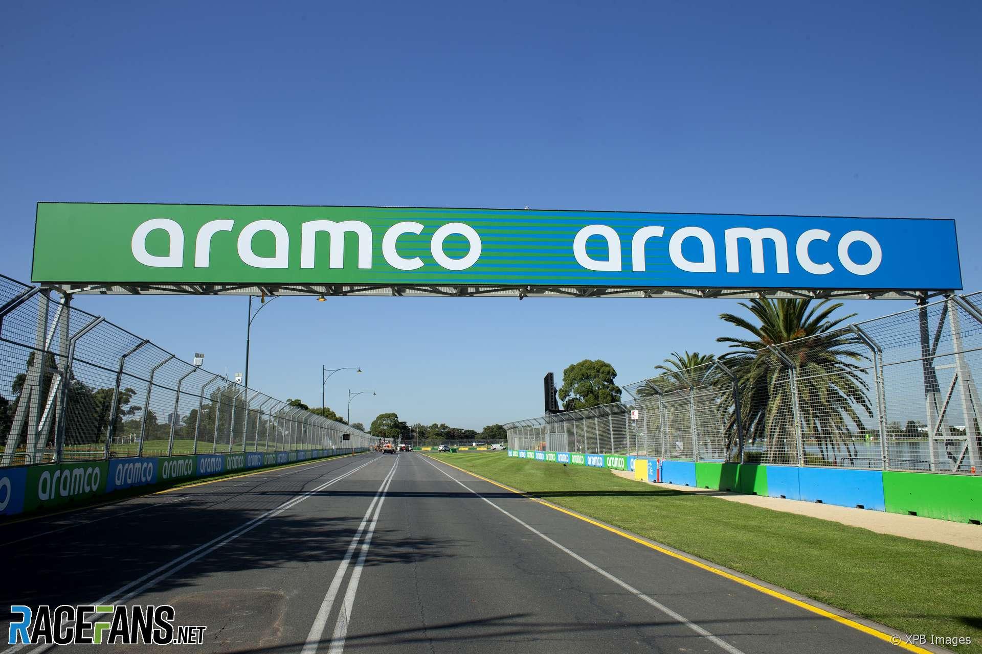 Aramco banner, Albert Park, Melbourne, 2020