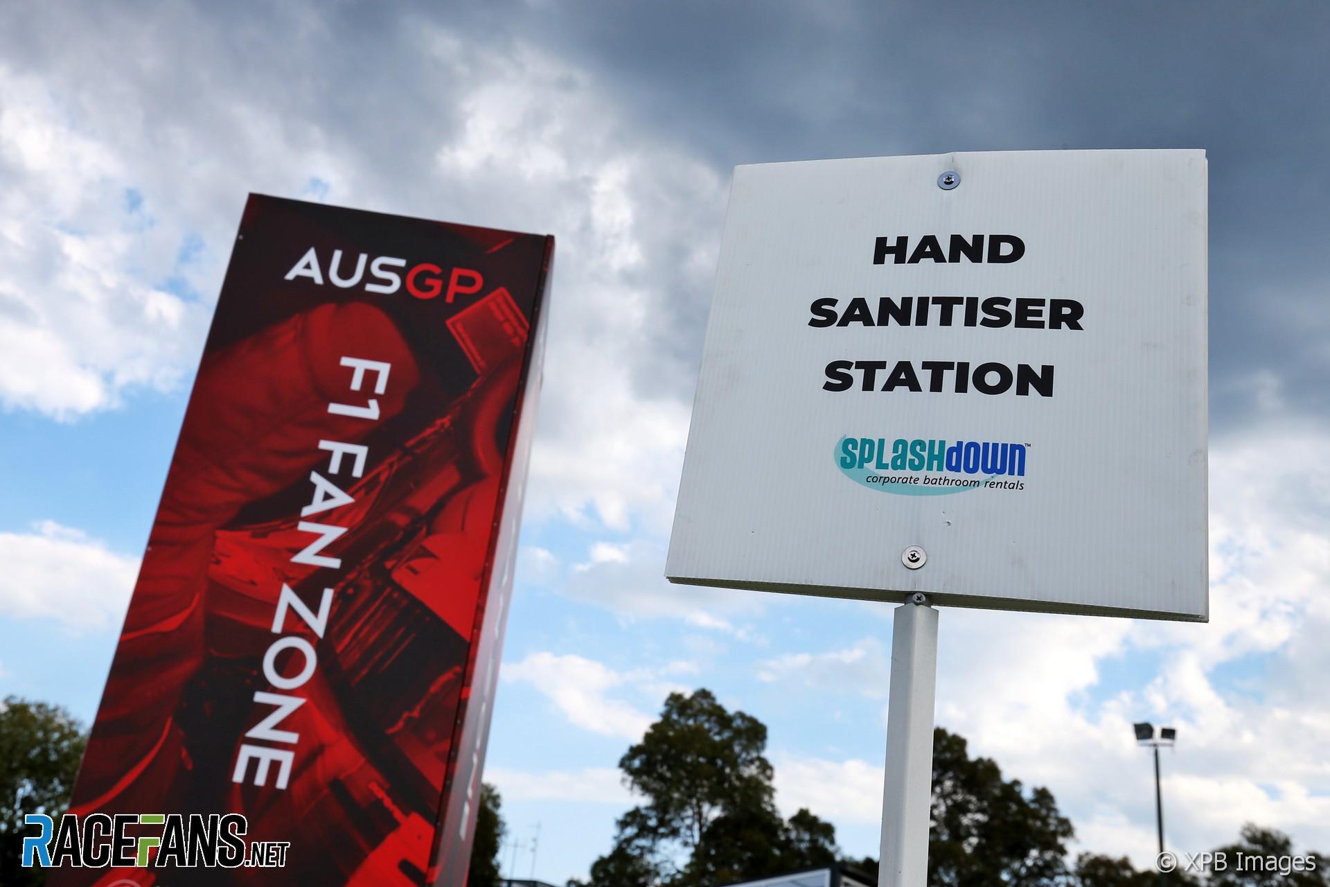 Hand sanitiser station, Albert Park, Melbourne, 2020