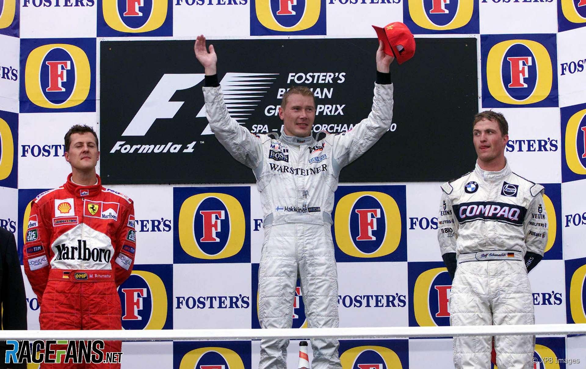 Mika Hakkinen, Michael Schumacher, David Coulthard, Spa-Francorchamps, 2000