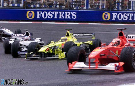 Michael Schumacher, Jarno Trulli, Jenson Button, David Coulthard, Spa-Francorchamps, 2000