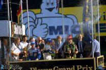 Nelson Piquet, Alain Prost, Nigel Mansell, Brands Hatch, 1983