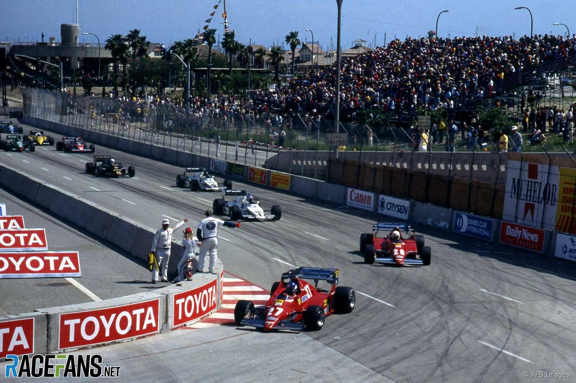 Patrick Tambay leads Rene Arnoux, Start, Long Beach, 1983
