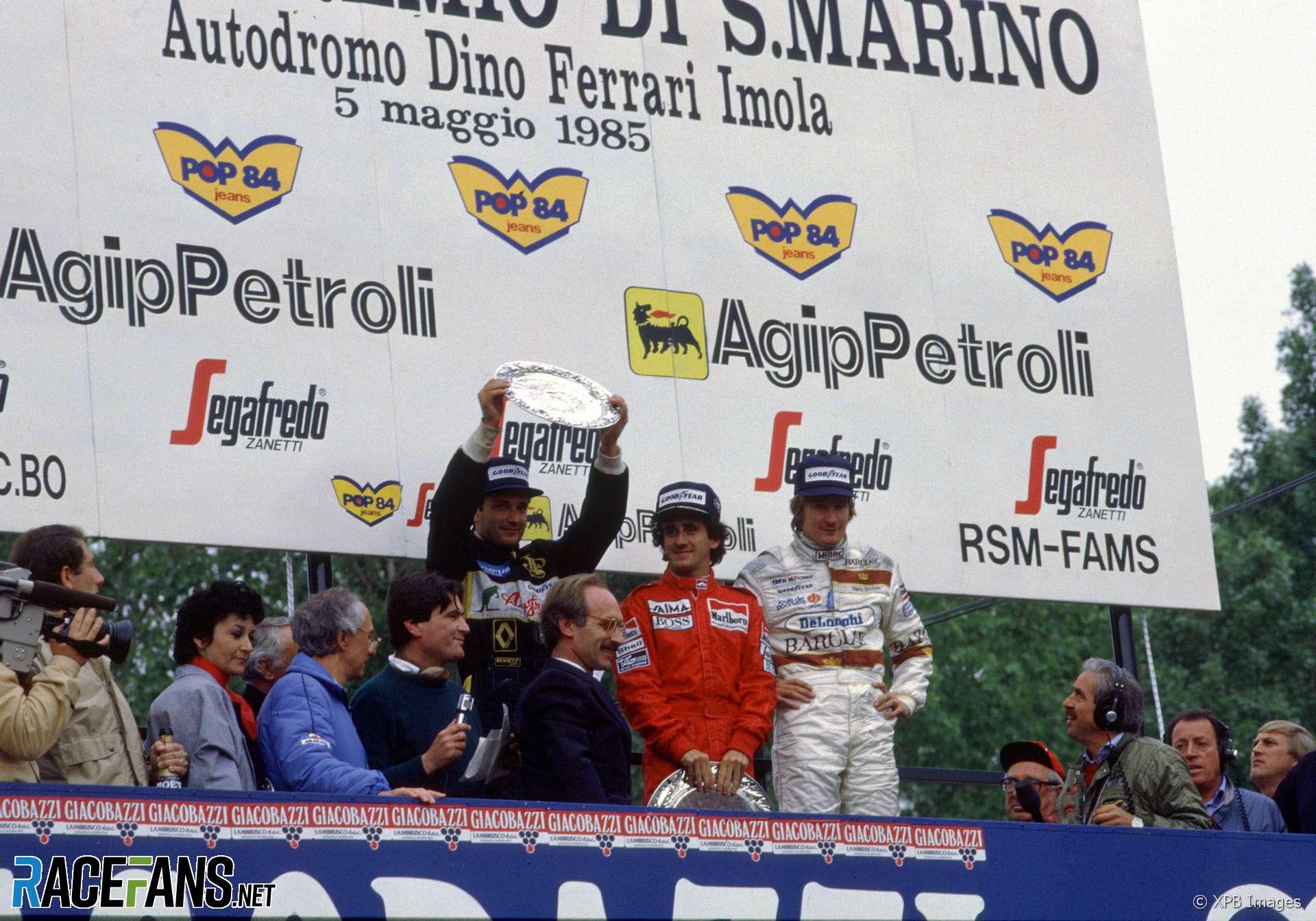 Elio De Angelis, Alain Prost, Thierry Boutsen, Imola, 1985