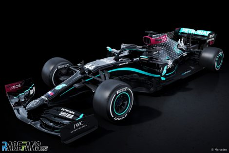Lewis Hamilton's Mercedes W11 with new livery, 2020