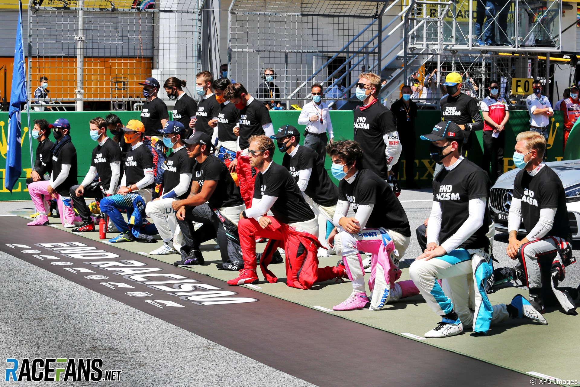F1 drivers take a knee, Red Bull Ring, 2020