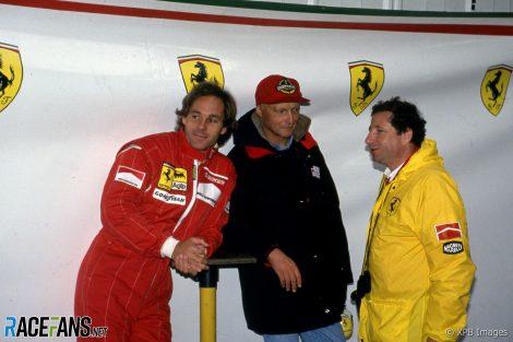 Gerhard Berger, Niki Lauda, Jean Todt, Ferrari, 1993