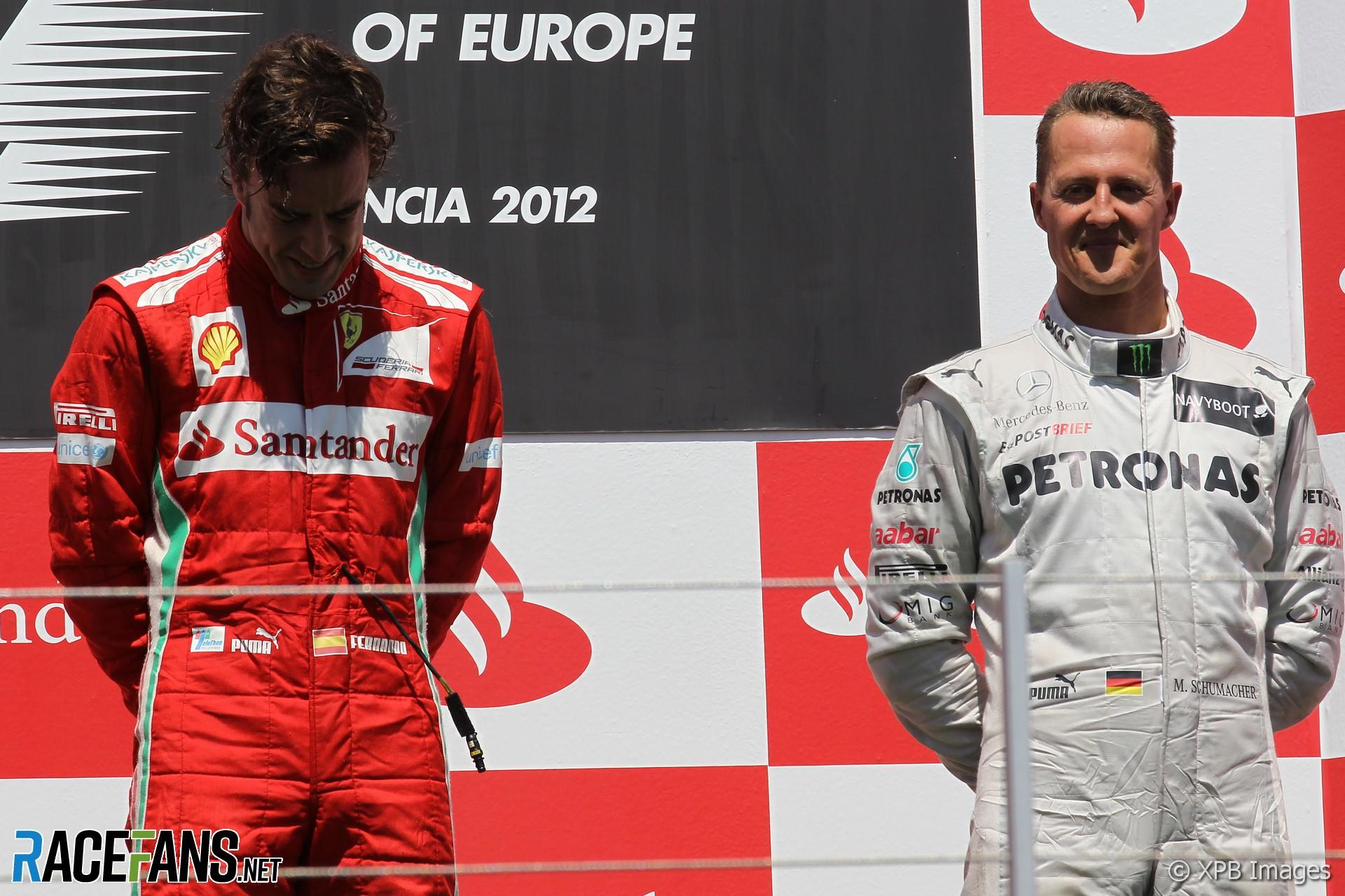 Fernando Alonso, Michael Schumacher, Valencia, 2012