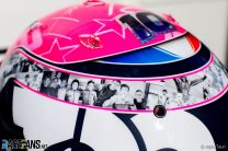 Gasly carrying pictures of Hubert on special helmet for Belgian GP