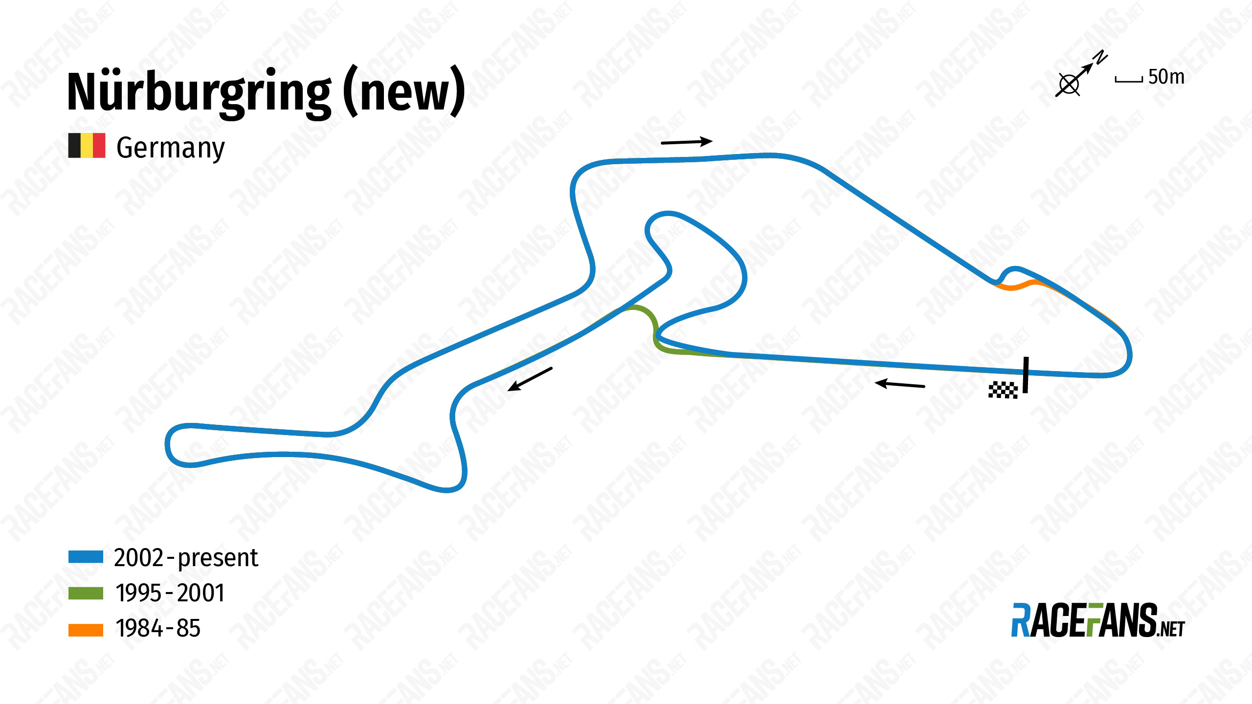 Nurburgring new track iterations map: 1984-