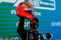Hamilton stands shoulder-to-shoulder with Schumacher after 91st win