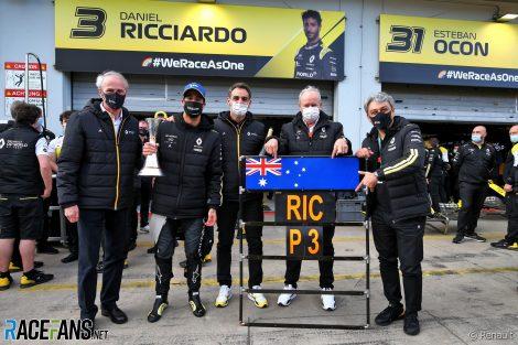 Jean-Dominique Senard, Daniel Ricciardo, Cyril Abiteboul, Jerome Stoll, Luca de Meo, Renault, Nurburgring, 2020
