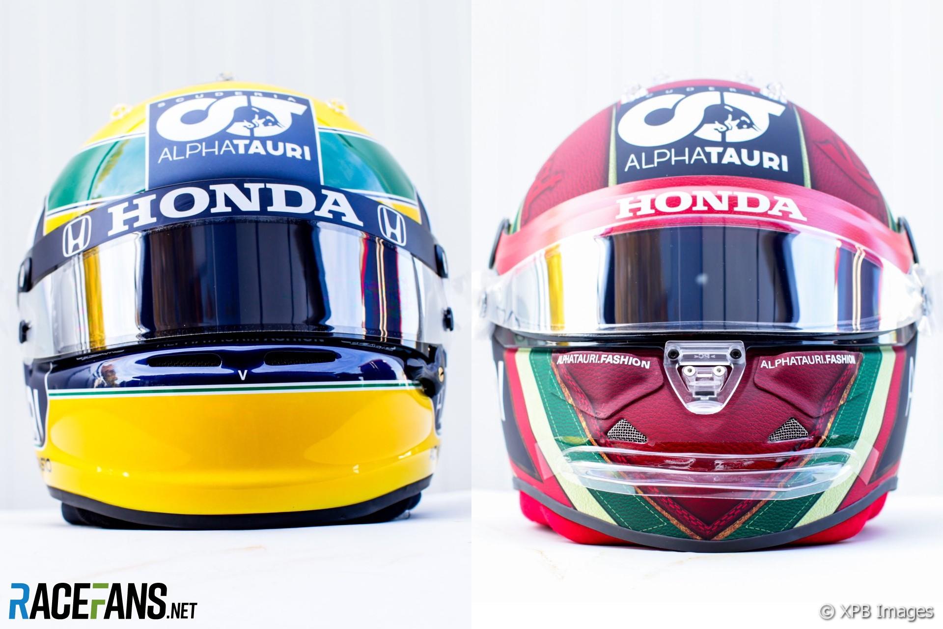 Pierre Gasly and Daniil Kvyat's Emilia-Romagna Grand Prix helmets, 2020