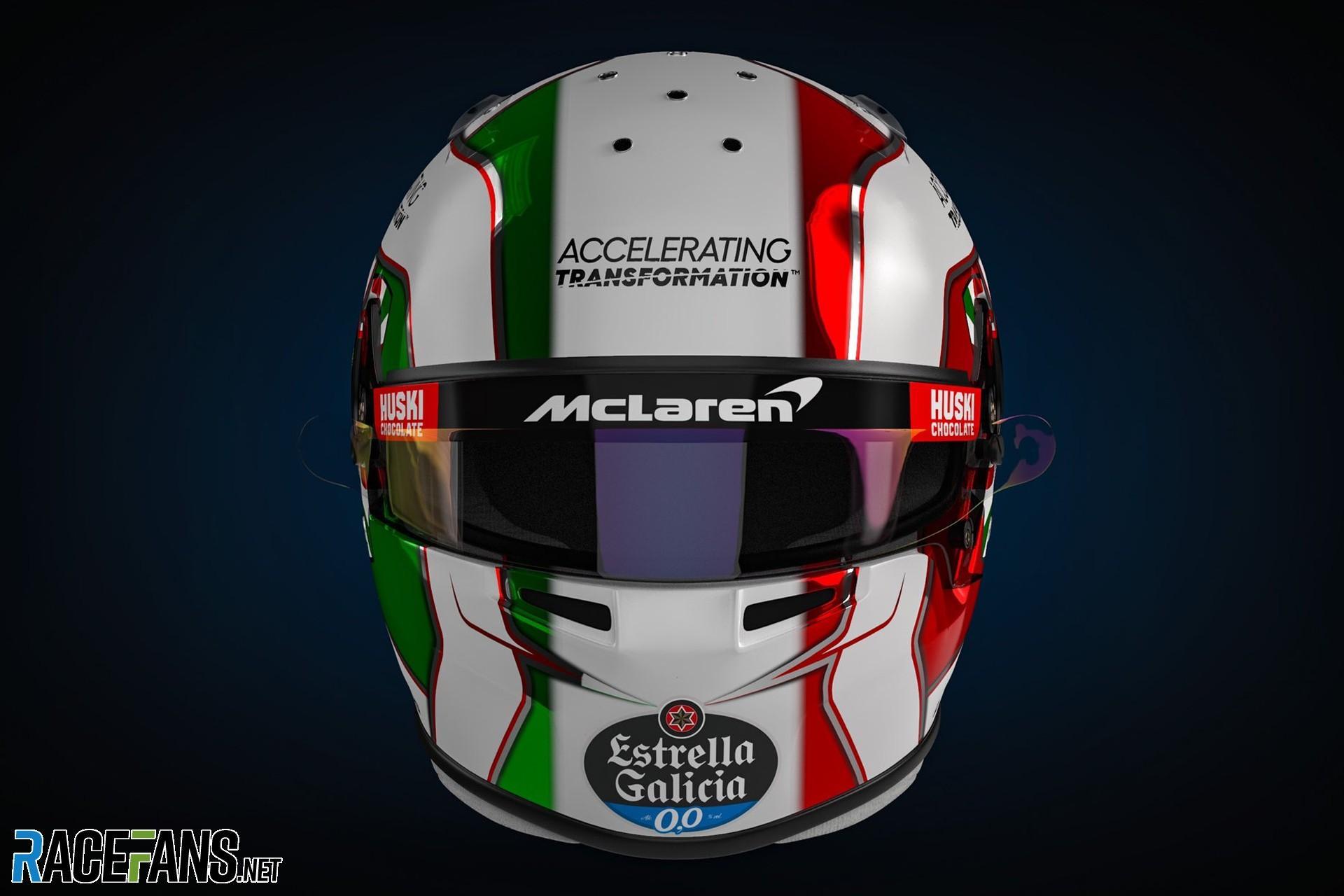 Lando Norris's Emilia-Romagna Grand Prix helmet, 2020