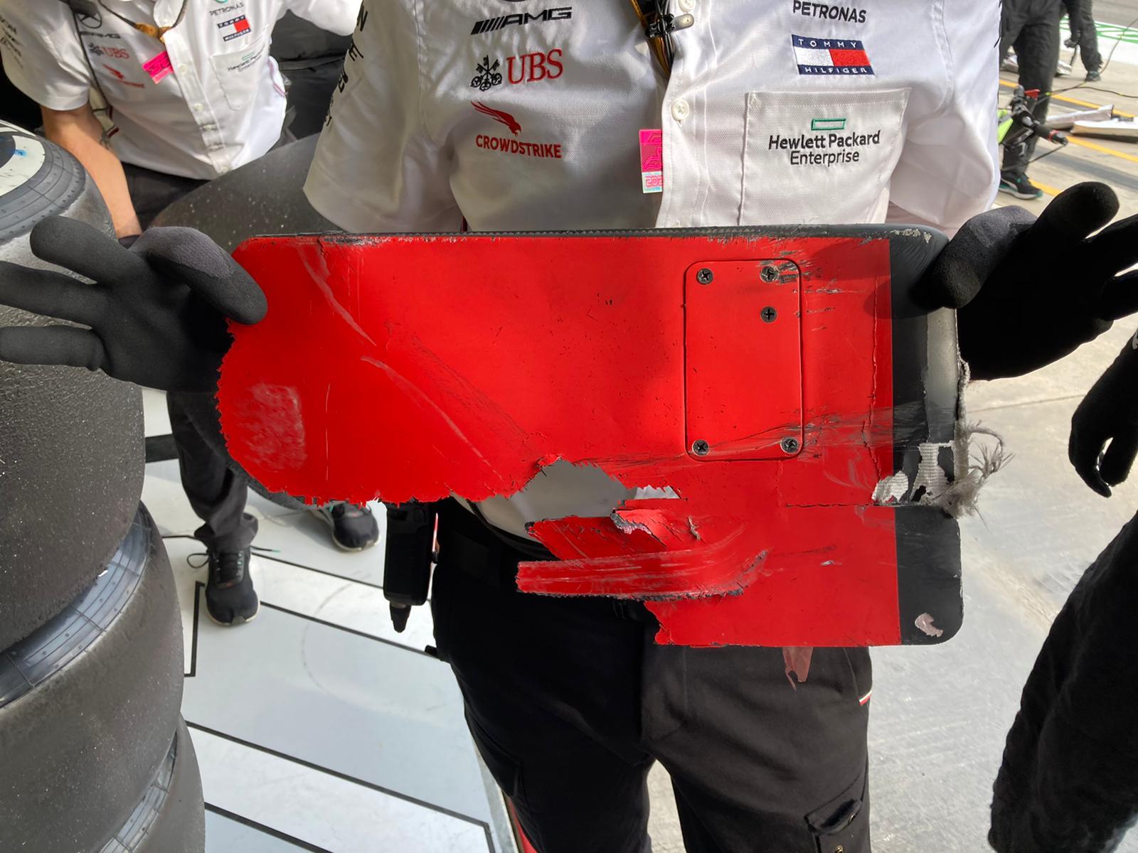 Part of Vettel's Ferrari lodged into Bottas's bargeboard