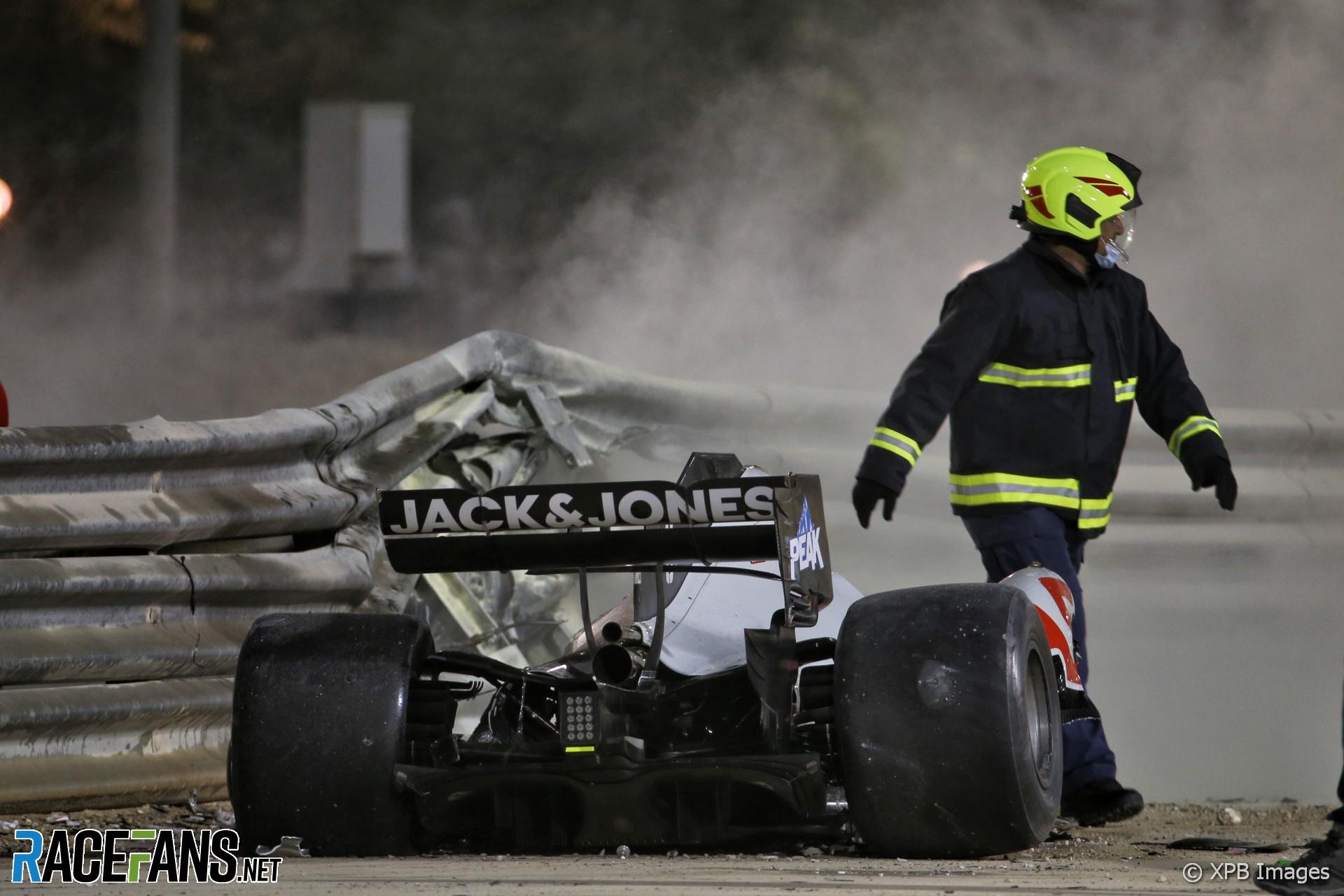 Romain Grosjean crash, Bahrain International Circuit, 2020