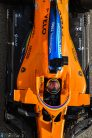 Carlos Sainz, McLaren MCL35, overhead angle from the pit lane