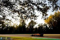 Lando Norris, McLaren MCL35, exits a corner