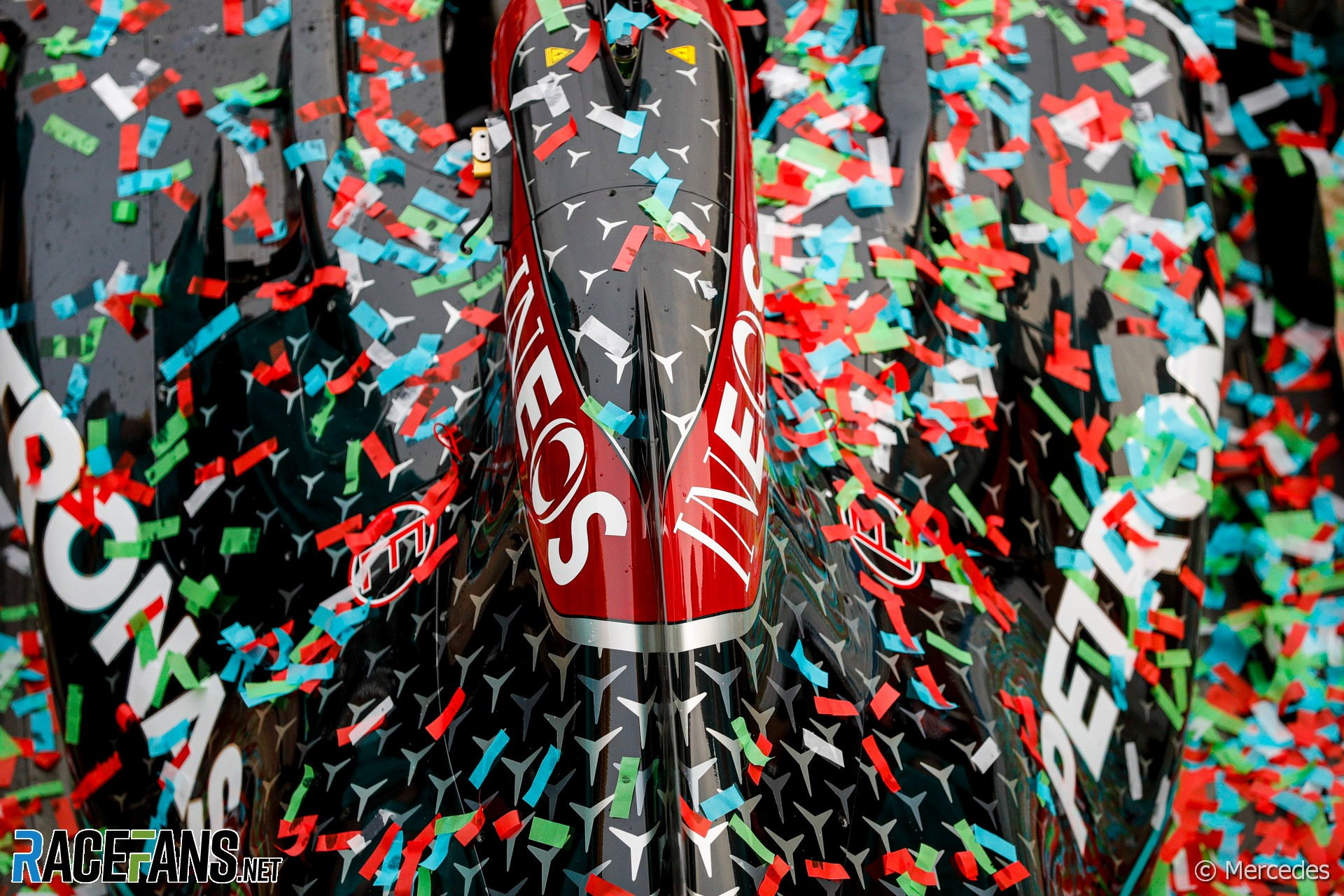 Mercedes celebrate their seventh constructors' championship, Imola, 2020
