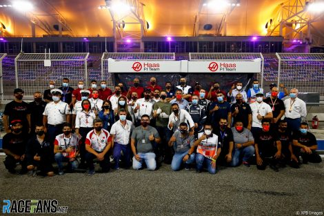 Romain Grosjean and safety team, Bahrain International Circuit, 2020