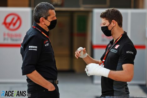 Guenther Steiner, Romain Grosjean, Haas, Bahrain International Circuit, 2020