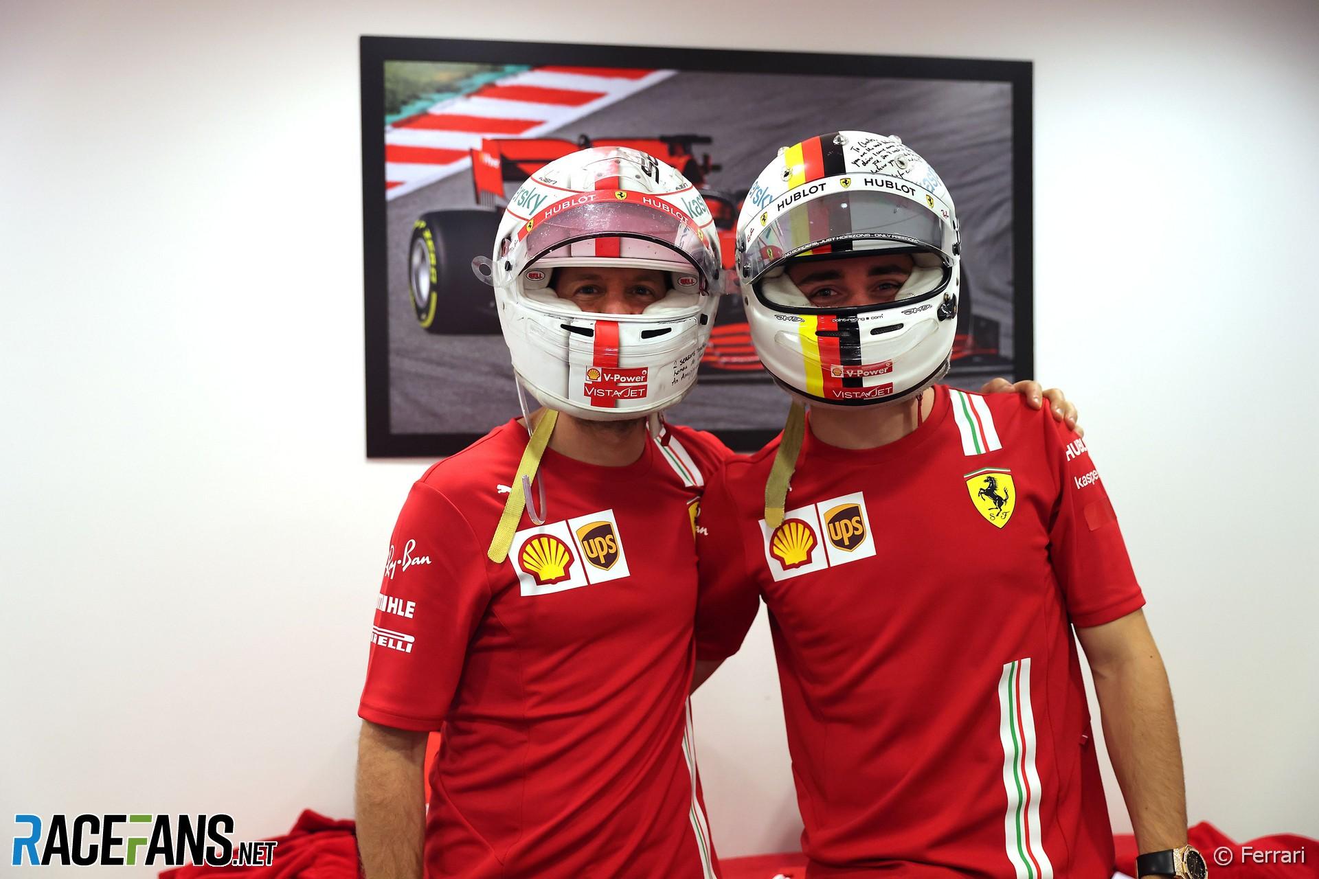 Sebastian Vettel, Charles Leclerc, Ferrari, Yas Marina, 2020