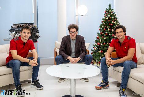 Charles Leclerc, Mattia Binotto, Carlos Sainz Jnr, Ferrari, 2020
