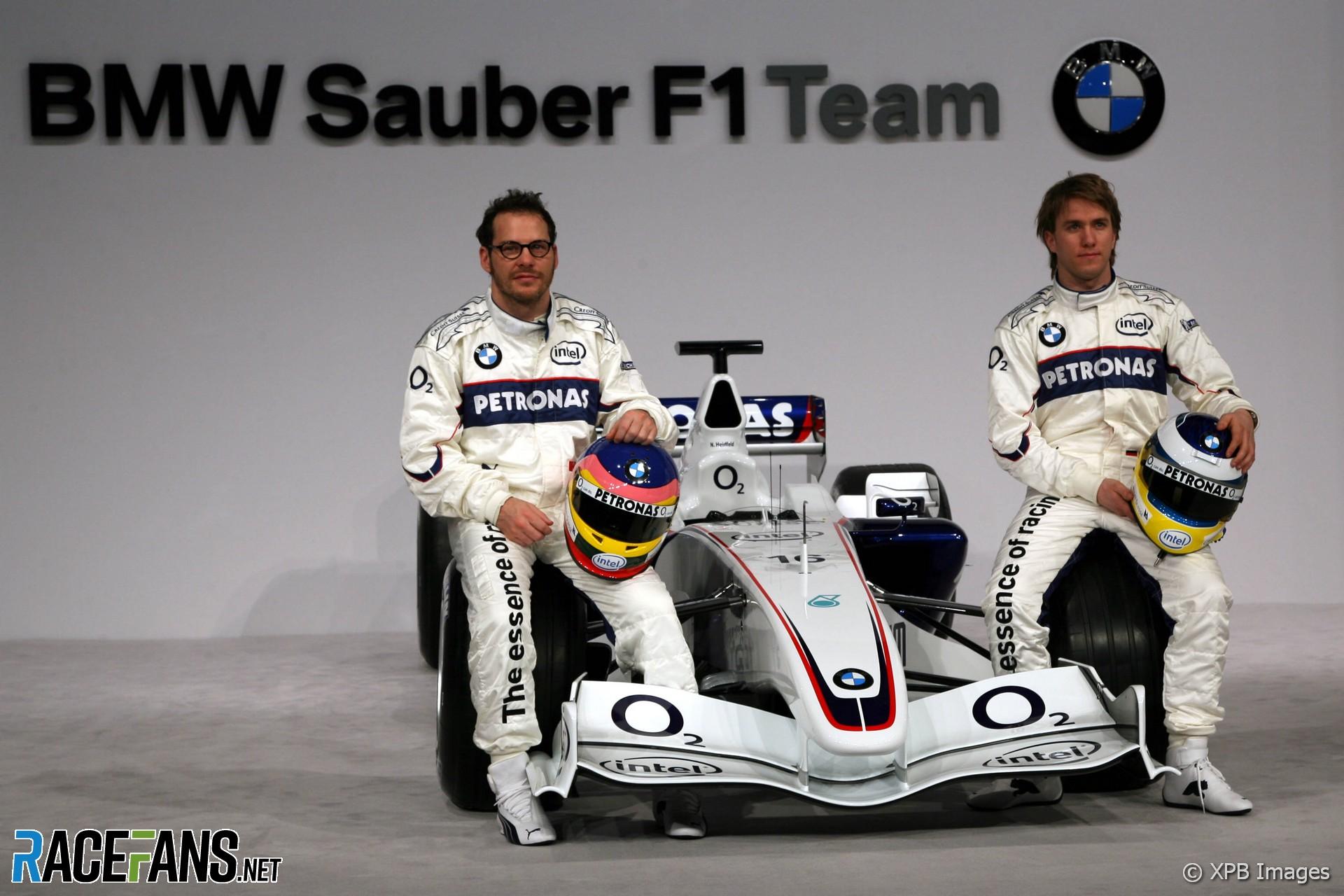 Jacques Villeneuve, Nick Heidfeld, BMW Sauber F1.06 launch, Valencia, 2006