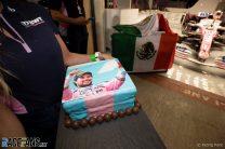 A cake to celebrate Sergio Perez, Racing Point, at a goodbye presentation
