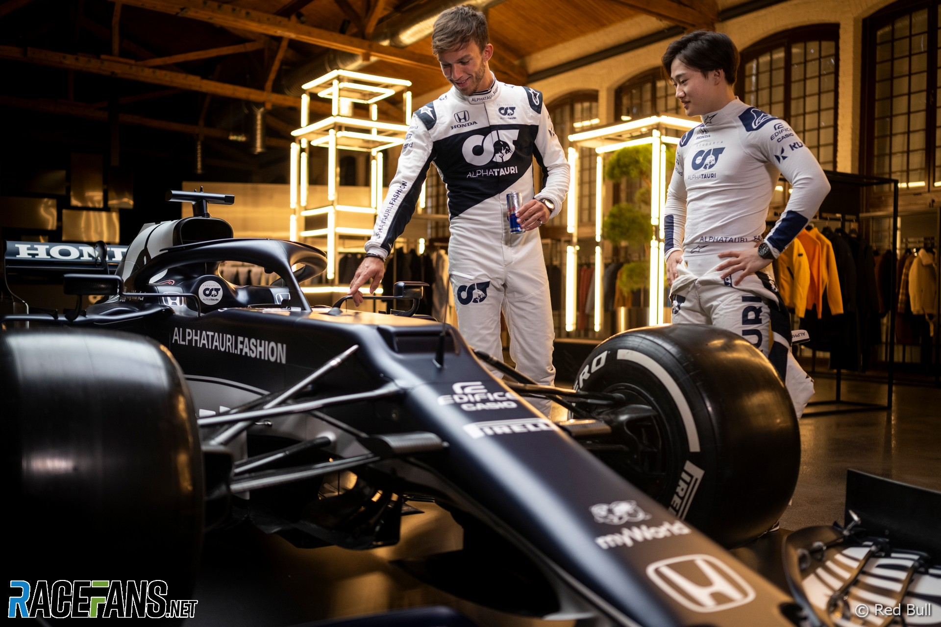 Pierre Gasly, Yuki Tsunoda, AlphaTauri AT02 livery launch, 2021